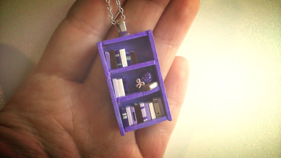 lavender bookshelf necklace