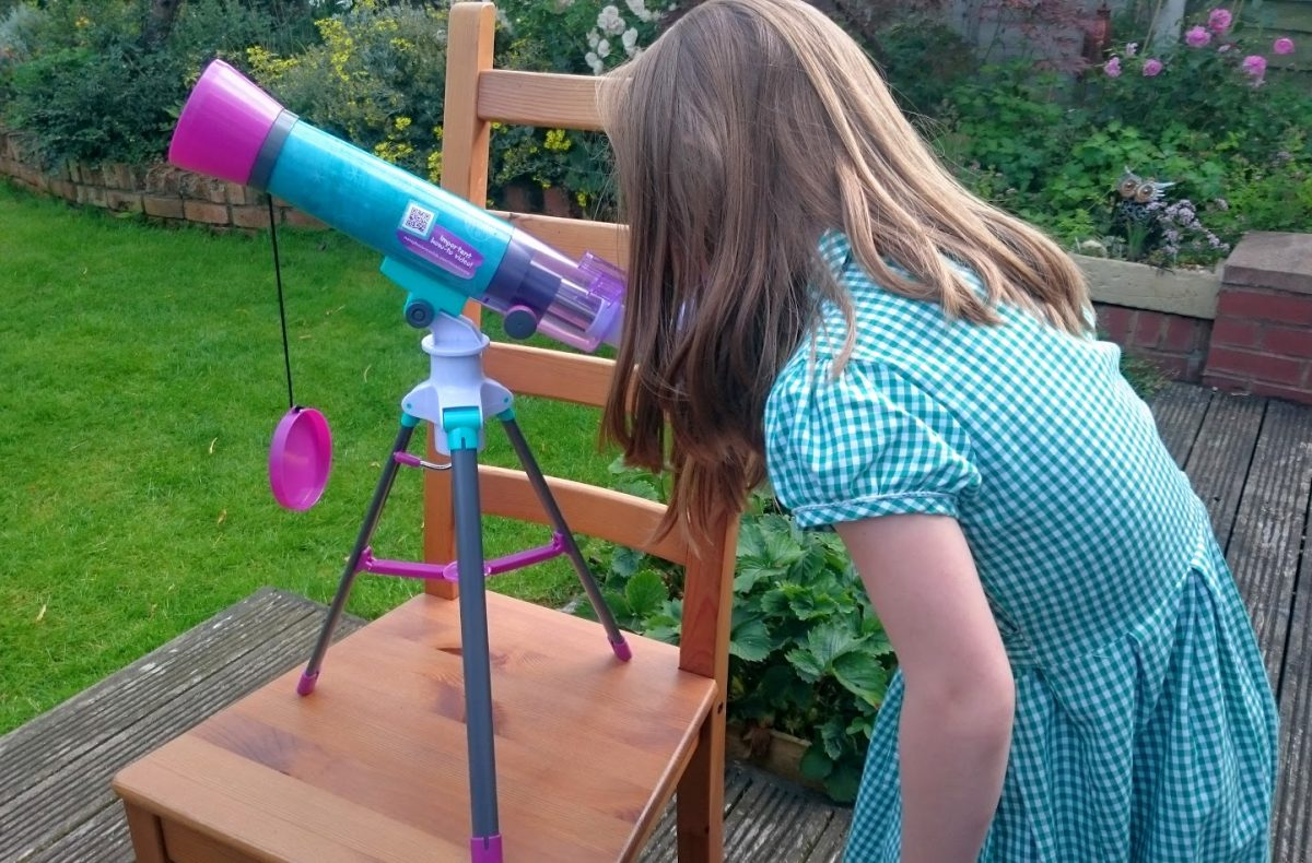 Nancy Bs Science Club Moon Scope outside